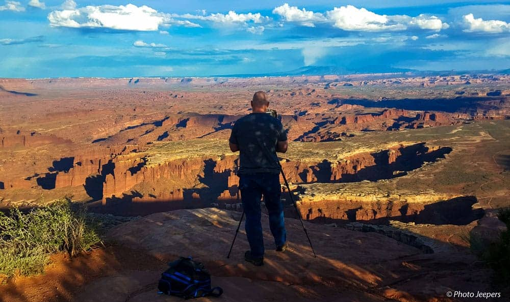 Dave from Photo Jeepers photographing the Grandview Point at Canyonlands Island in the Sky