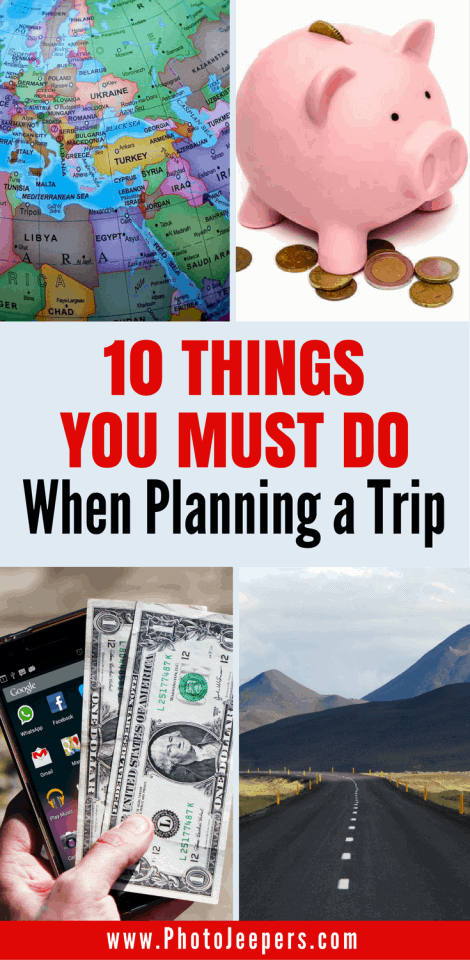 Planning a trip can be stressful, but we're here to help ease that burden. We break down the process of planning a trip into 10 easy steps so you don't miss a thing. Check out this travel planning checklist to help you plan your next vacation. Don't forget to save these tips to help you plan a trip to your travel board so you can find it later.