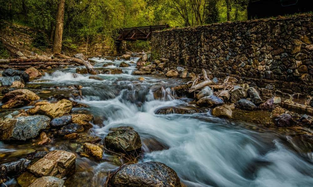 River running under a bridge in American Fork Canyon, Utah