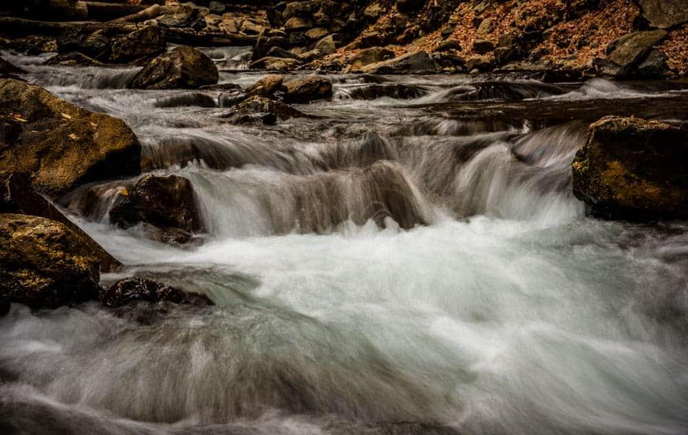 mini waterfall in American Fork River, Utah
