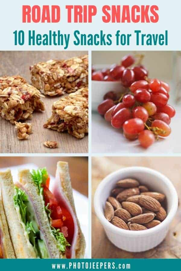 Eating healthy while traveling is so important. Here's a list of 10 healthy snack ideas for a road trip, travel or hiking. #travel #roadtrip #healthysnack #photojeepers