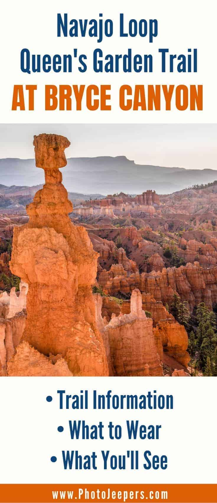 Everything you need to know to hike the Navajo Loop Queen's Garden Trail at Bryce Canyon National Park. Navajo Loop Queen's Garden trail information   What to wear hiking at Bryce Canyon   What you'll see on the Navajo Loop Queen's Garden hiking trail #nationalparks #brycecanyon #utah #hiking #photojeepers