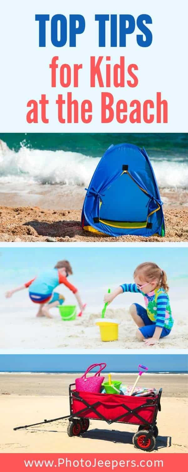 Top tips for kids at the beach. What to pack for kids at the beach. Gear for taking babies to the beach. #beach #beachvacation #familytravel #photojeepers