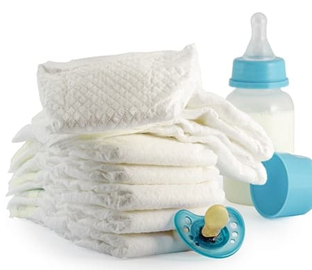 Pack diapers and wipes when flying with baby and toddler