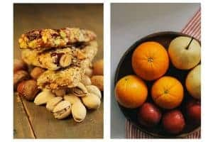 protein bars, nuts, fruit