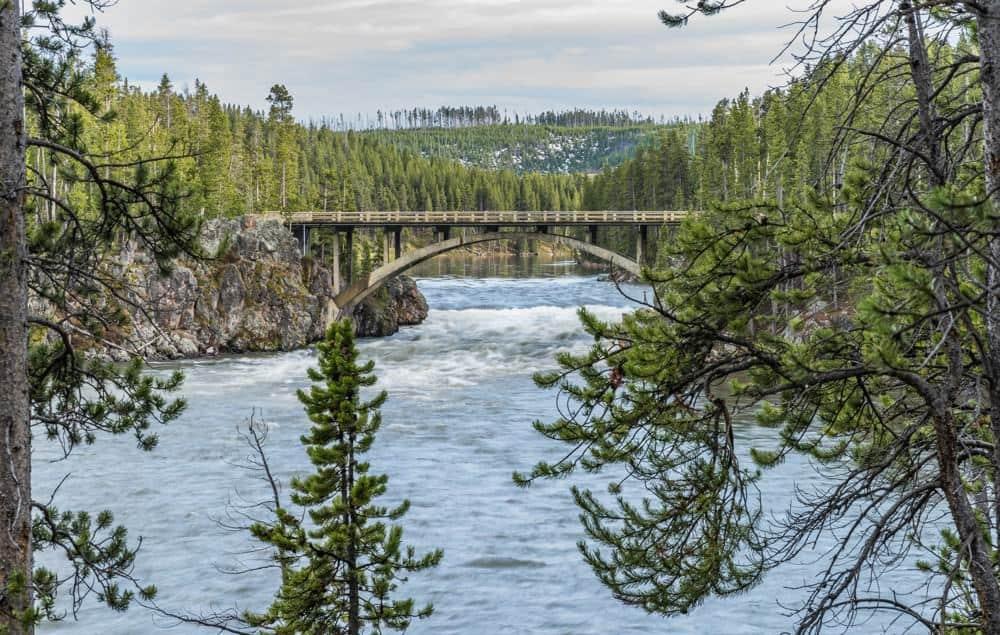 Bridge crossing the Yellowstone River in Canyon