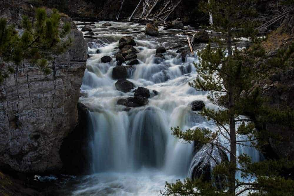 Firehole Falls waterfall in Yellowstone National Park