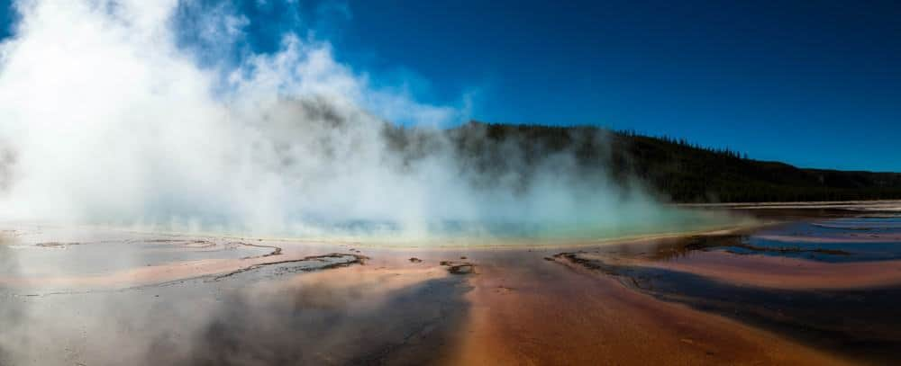 Grand Prismatic Spring at Yellowstone in the fall with steam