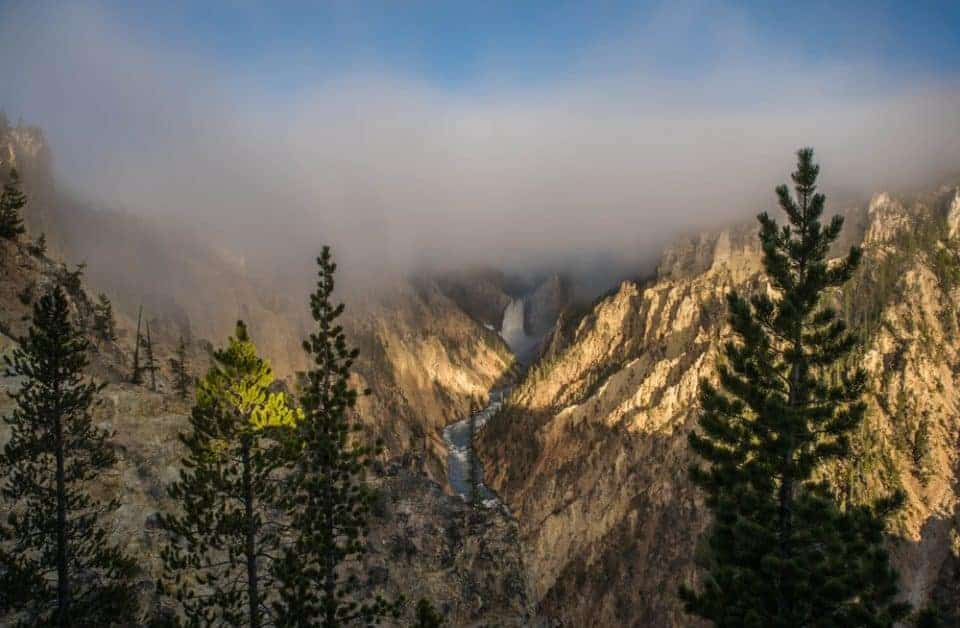 Fog over the Lower Falls at Yellowstone National Park