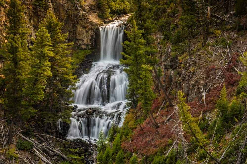 Undine Falls waterfall in Yellowstone National Park