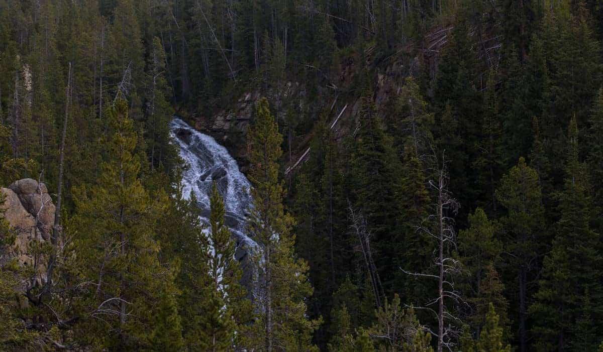 Virginia Cascades waterfall in Yellowstone.
