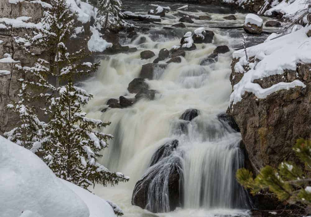 Firehole Falls in the winter in Yellowstone National Park
