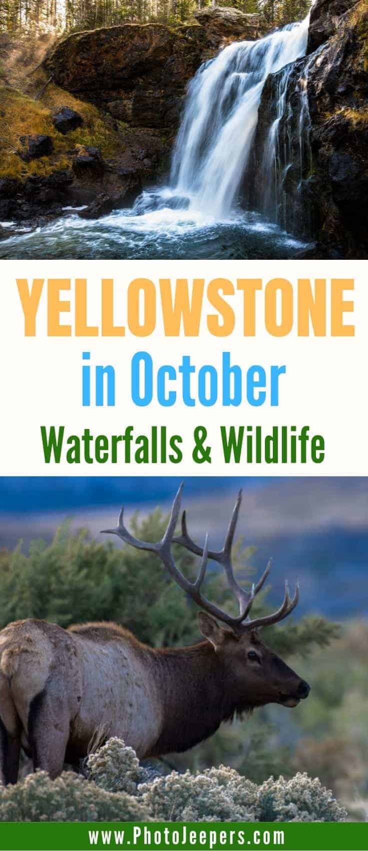 Plan a trip to Yellowstone in October for amazing waterfalls and wildlife.