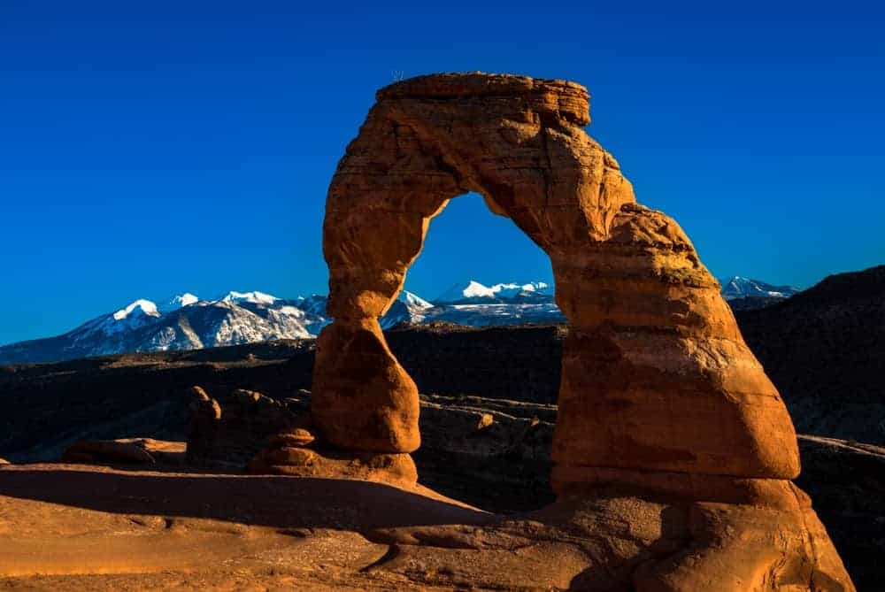 Delicate Arch at sunset in the winter.
