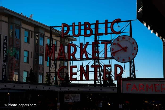 Seattle One Day Itinerary Public Market Center sign at Pike Market