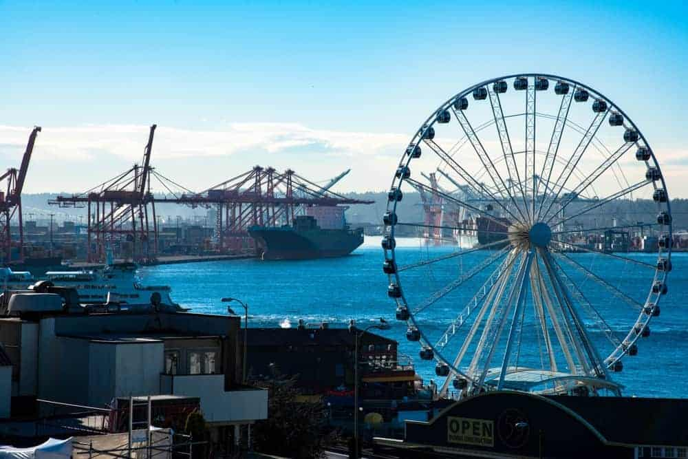 Seattle pier with ferris wheel.