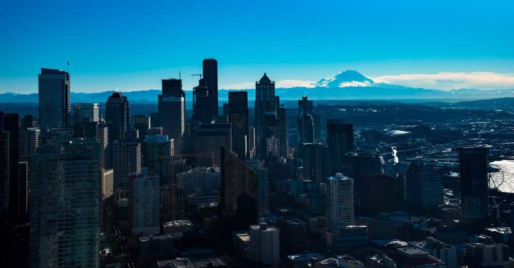 Seattle skyline with Mt. Rainier in the background as seen from the Space Needle.