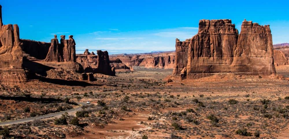 scenic drive during the winter at Arches National Park