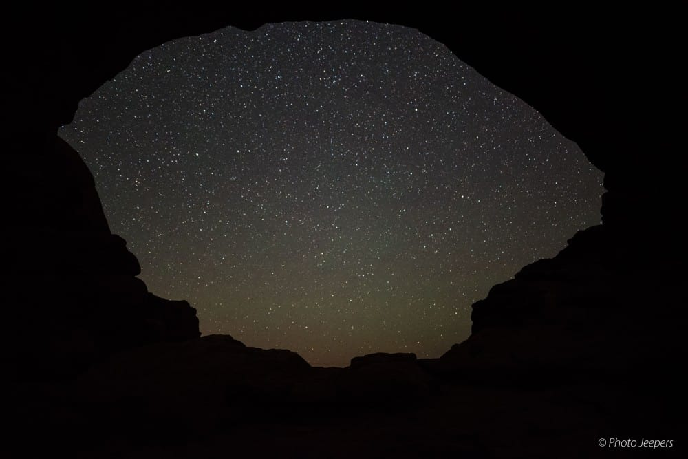 Stars through the North Window during the winter at Arches National Park