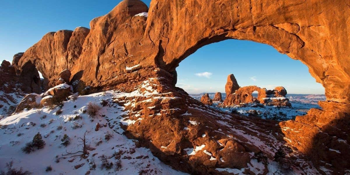 Turret Arch with snow when visiting Arches in the winter.