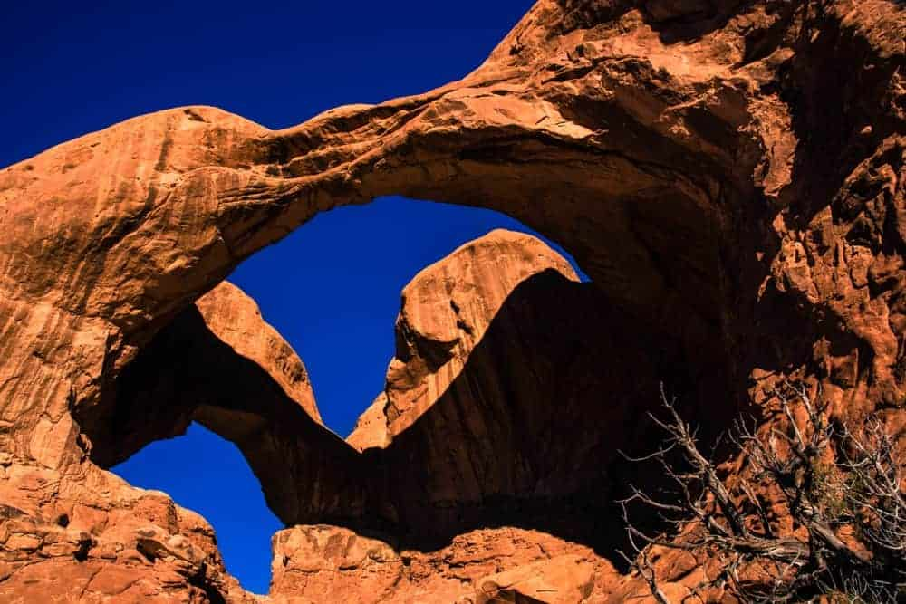 Double Arch consists of two arches that emerge from the same rock formation, making this the perfect place to do some Arches National Park photography.