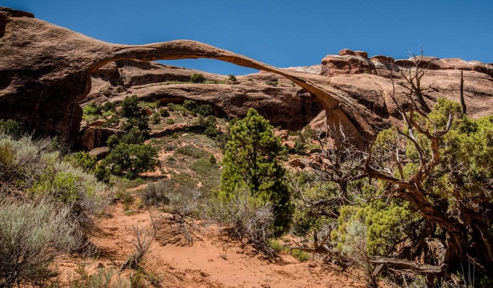 Landscape Arch is the longest natural arch formation in Arches National Park
