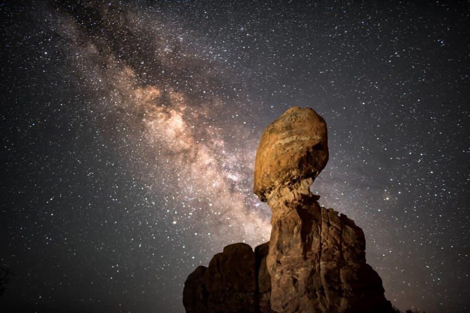 Balanced Rock and the Milky Way at Arches National Park, Utah, USA