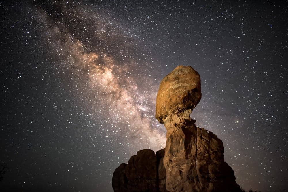 Balanced Rock and the Milky Way at Arches National Park, Utah, USA