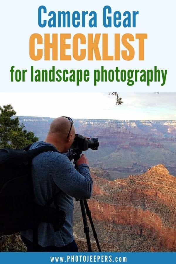 Camera gear checklist for landscape photography.