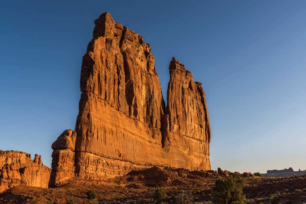 The Organ in the Courthouse Towers area of Arches National Park is best photographed at sunrise.