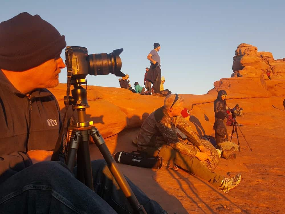 Because Delicate Arch is one of the best sunset spots in the park, many photographers line up along the bowl and wait for that perfect shot.