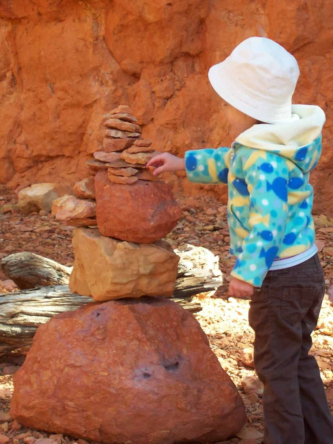Rock cairns are fun trail markers when hiking with kids