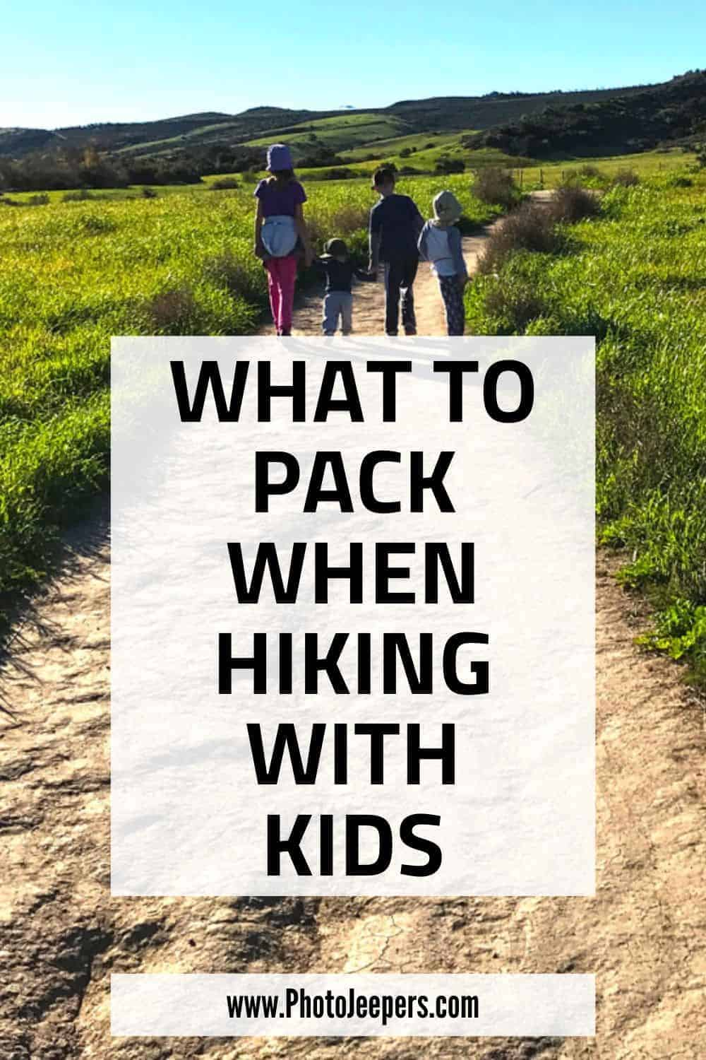 What to pack when hiking with kids: sun protection for hiking | hiking shoes for kids | hiking socks for kids | hydration packs for kids | child hiking carriers #hiking #familytravel #hikinggear #photojeepers