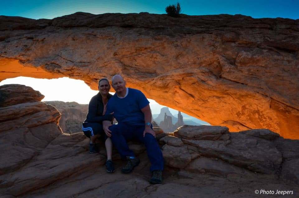 Canyonlands Island in the Sky - Mesa Arch at sunrise with Dave and Jamie the Photo Jeepers