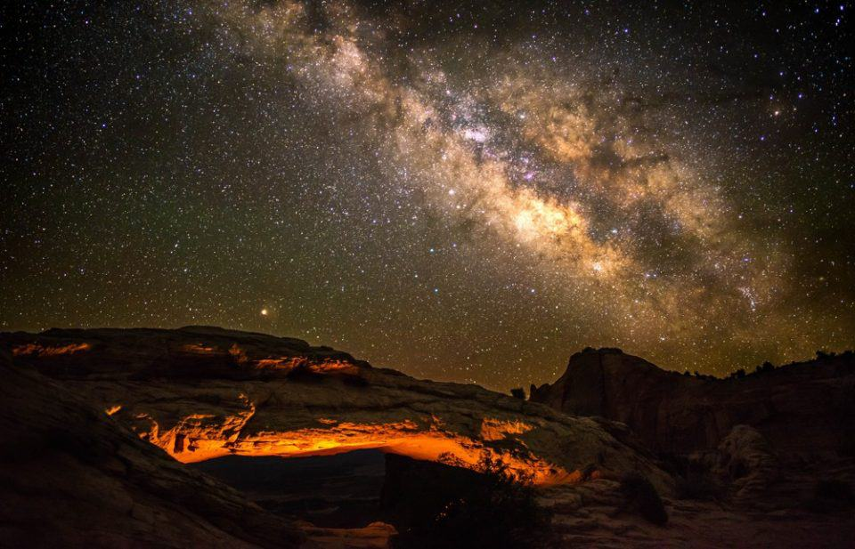 The Milky Way above Mesa Arch in Canyonlands National Park, Utah, USA