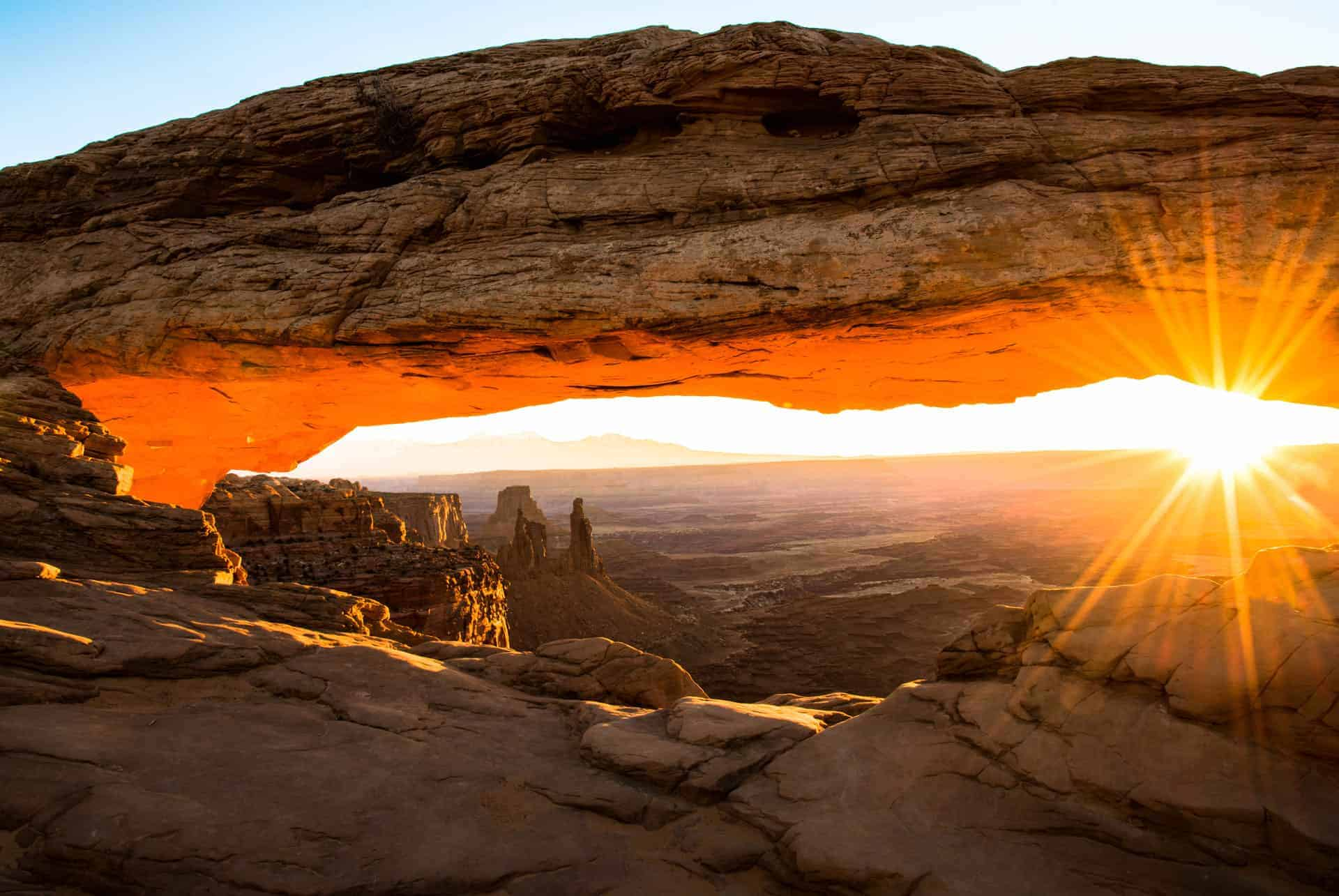 Mesa Arch at Canyonlands National Park, Utah at sunrise.