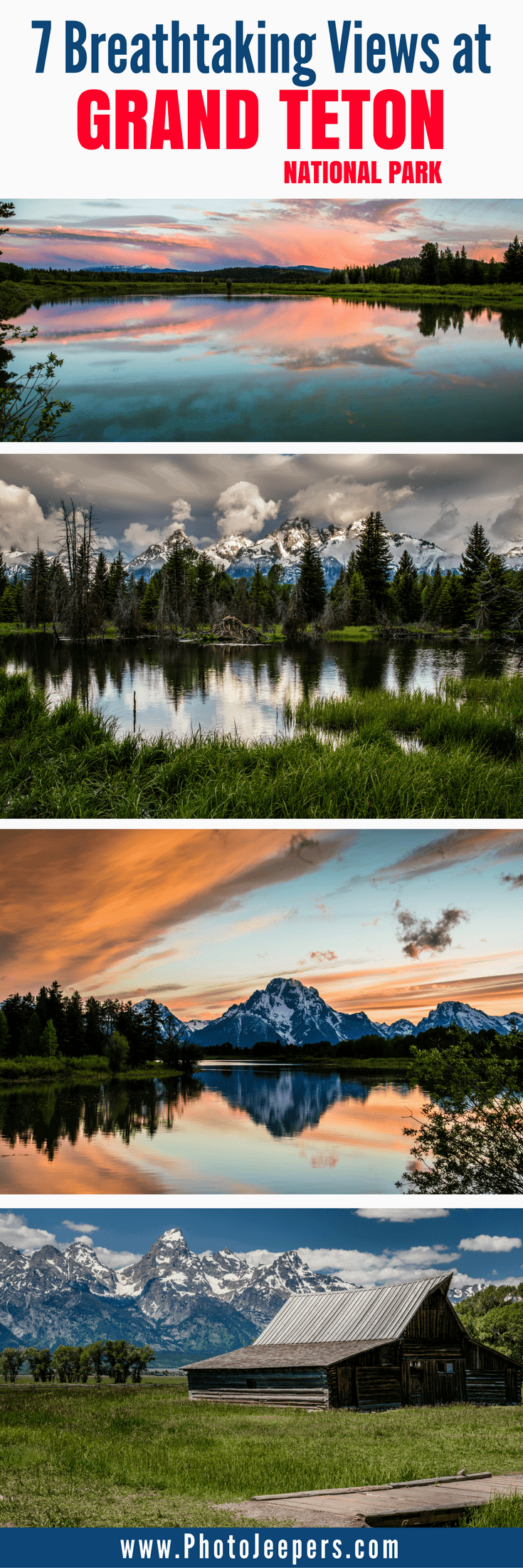 Grand Teton National Park is a breathtaking mountain getaway in Wyoming, USA. Every direction you look, you will be blown away by the incredible beauty of nature. Though the whole park is beautiful, we will share our favorite spots to take pictures in Grand Teton National Park. Make sure you stop at this beautiful park if you make a trip to Yellowstone National Park in Wyoming. Don't forget to save these best places to take pictures in Grand Teton National Park to your travel board so you can find them later.
