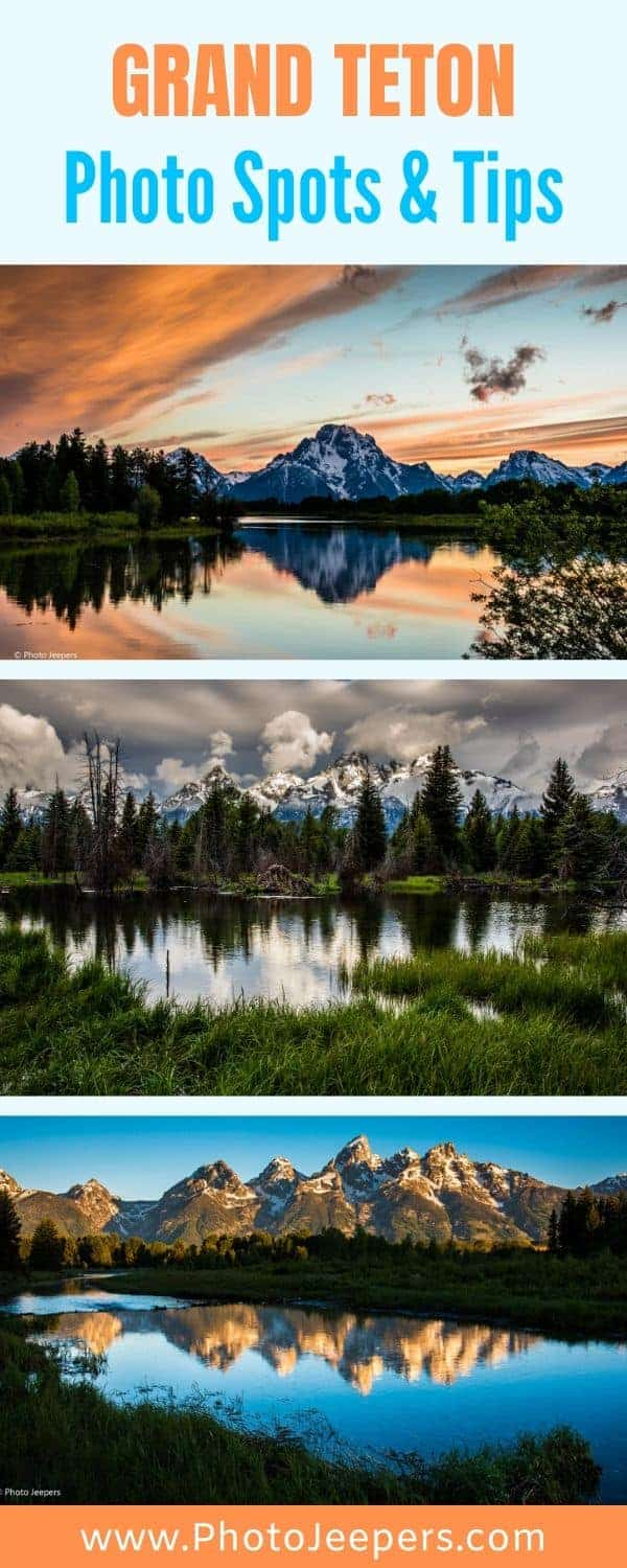 Grand Teton Photography Spots and Tips. Use this guide to photograph Grand Teton National Park. #nationalparks #photographydestination #tetons #photojeepers