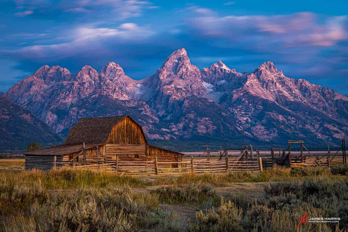 Sunrise is the best time to photograph Mormon Row at the Tetons.
