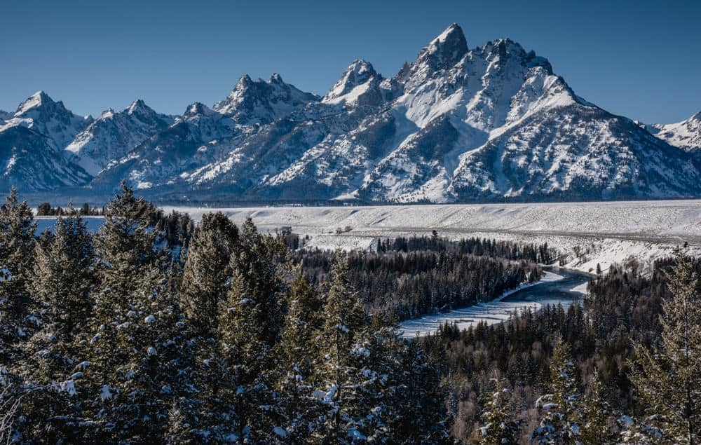 A winter view of the Snake River Overlook at Grand Teton.
