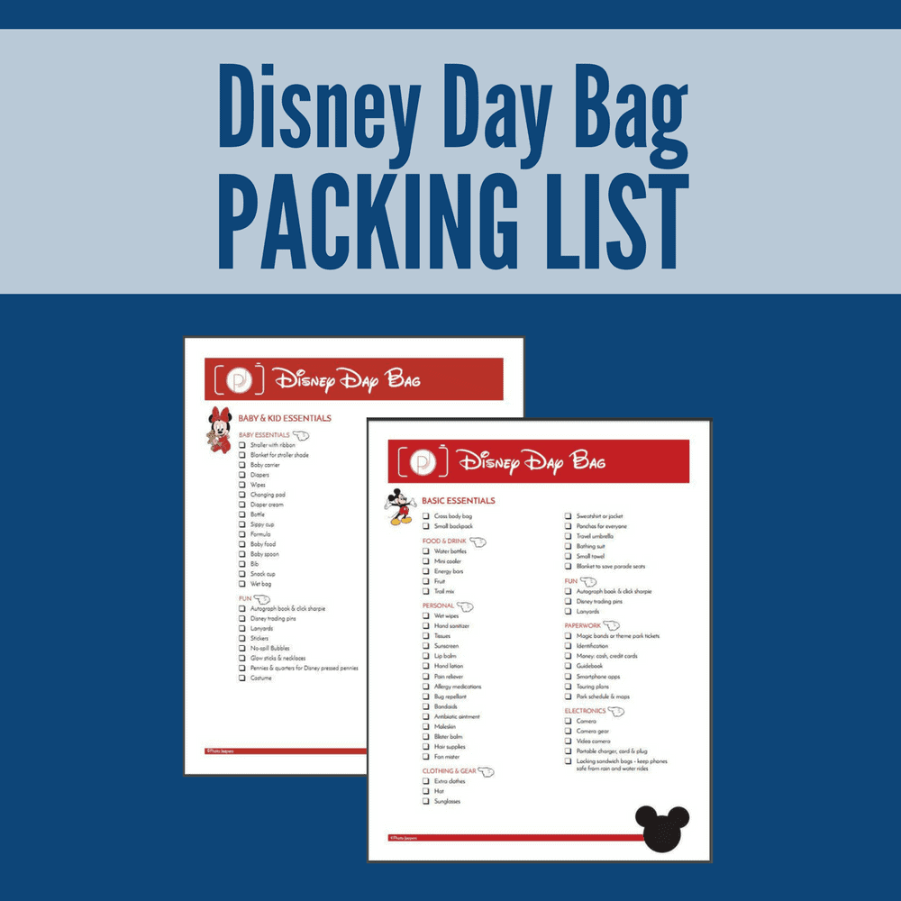 Disney Day Bag Packing List