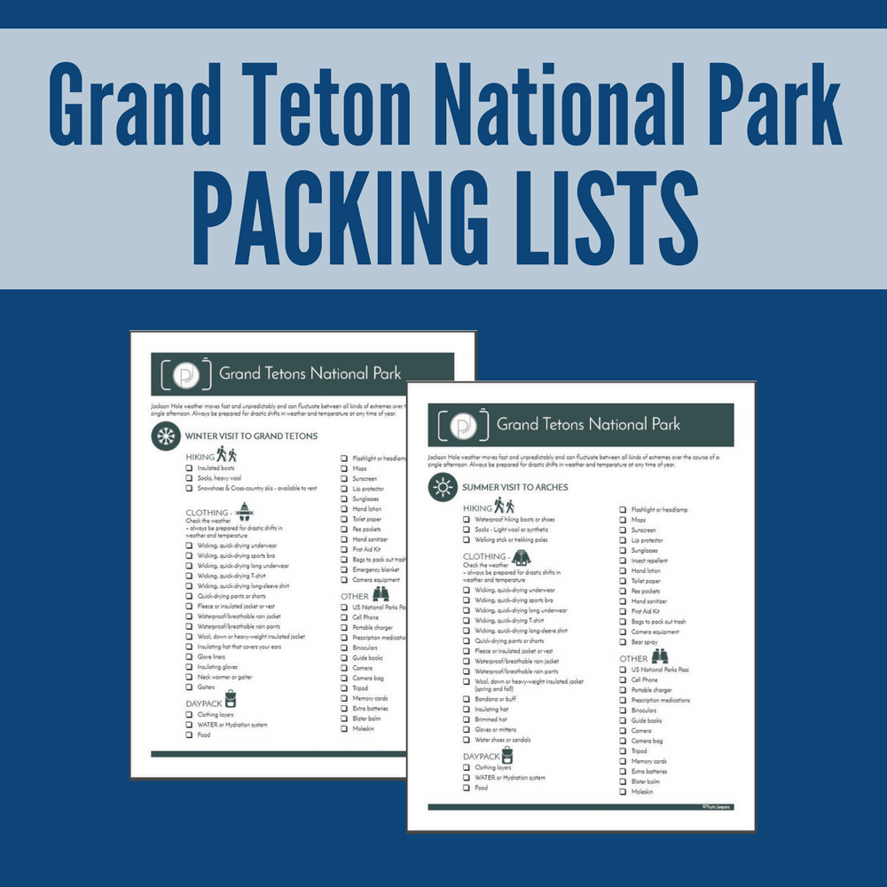 Grand Teton National Park Packing Lists