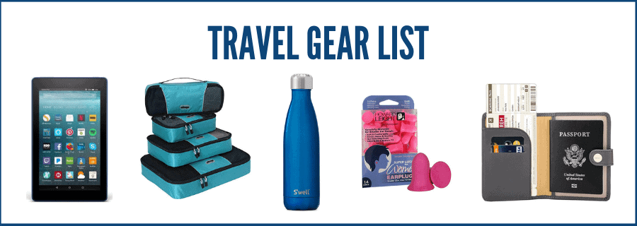 travel gear list products: kindle, packing cubes, water bottle, ear plugs, passport wallet