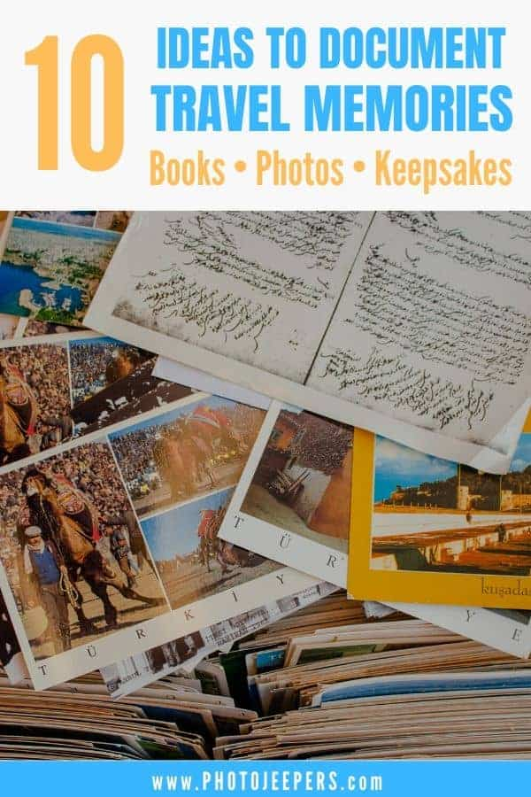 10 ideas to document travel memories: travel memory books, travel photos, travel scrapbooks, travel posters, travel keepsakes and more! #travel #memorybook #traveljournal #scrapbook #keepsake #photojeepers