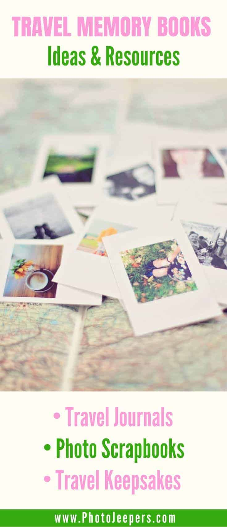 Travel memory book ideas and resources: travel journals, scrapbooks, postcards, travel posters, travel keepsakes and more! #travel #traveljournal #scrapbook #travelmemories #photojeepers