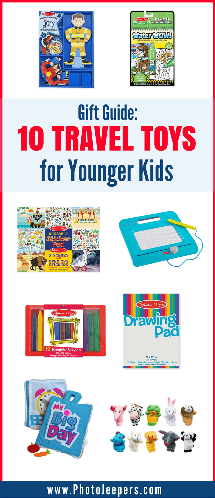 Are you looking for the perfect gifts for kids who travel? We will share our favorite travel toys for younger kids to help keep them distracted and happy on long trips. If you're planning a road trip for the holidays, you'll want to grab these fun travel toys and travel activities for a road trip with kids before you leave. Make sure you save this to your travel or Christmas board so you can grab these gifts for your kids!