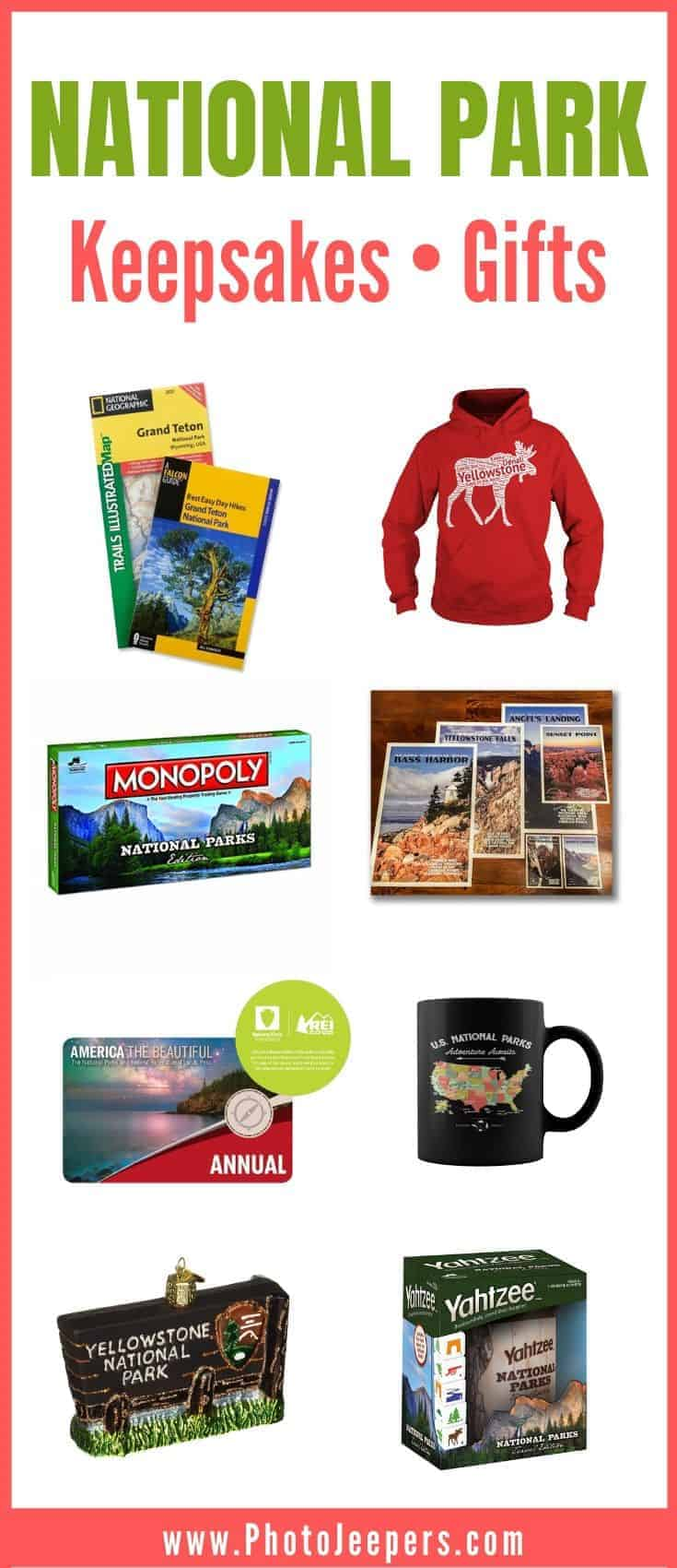 National Park Keepsakes and Gift Ideas: National Park maps, National Park clothing, National Park games, National Park calendars, National Park ornaments and more! #nationalparks #keepsake #travel #photojeepers