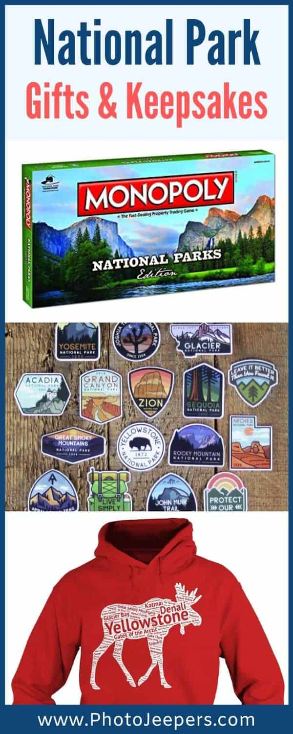 National Park Gift and Keepsakes Guide: National Park games, National Park clothing, National Park stickers, National Park journals, National Park posters and more! #nationalparks #keepsake #traveljournal #photojeepers