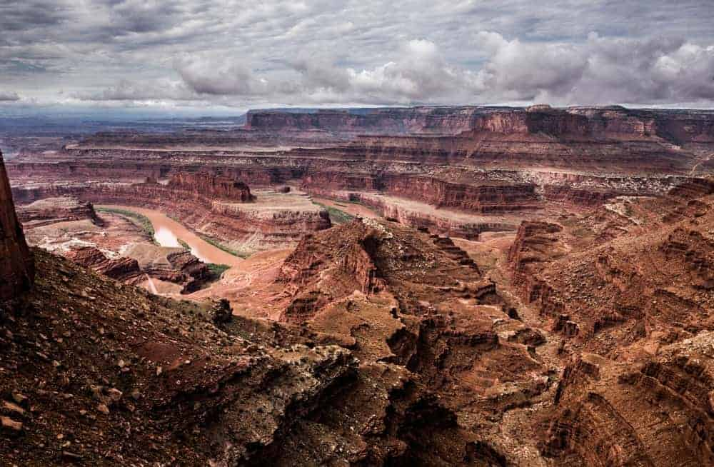 Canyons and the Colorado River seen from the viewpoint at Dead Horse Point State Park in Utah.