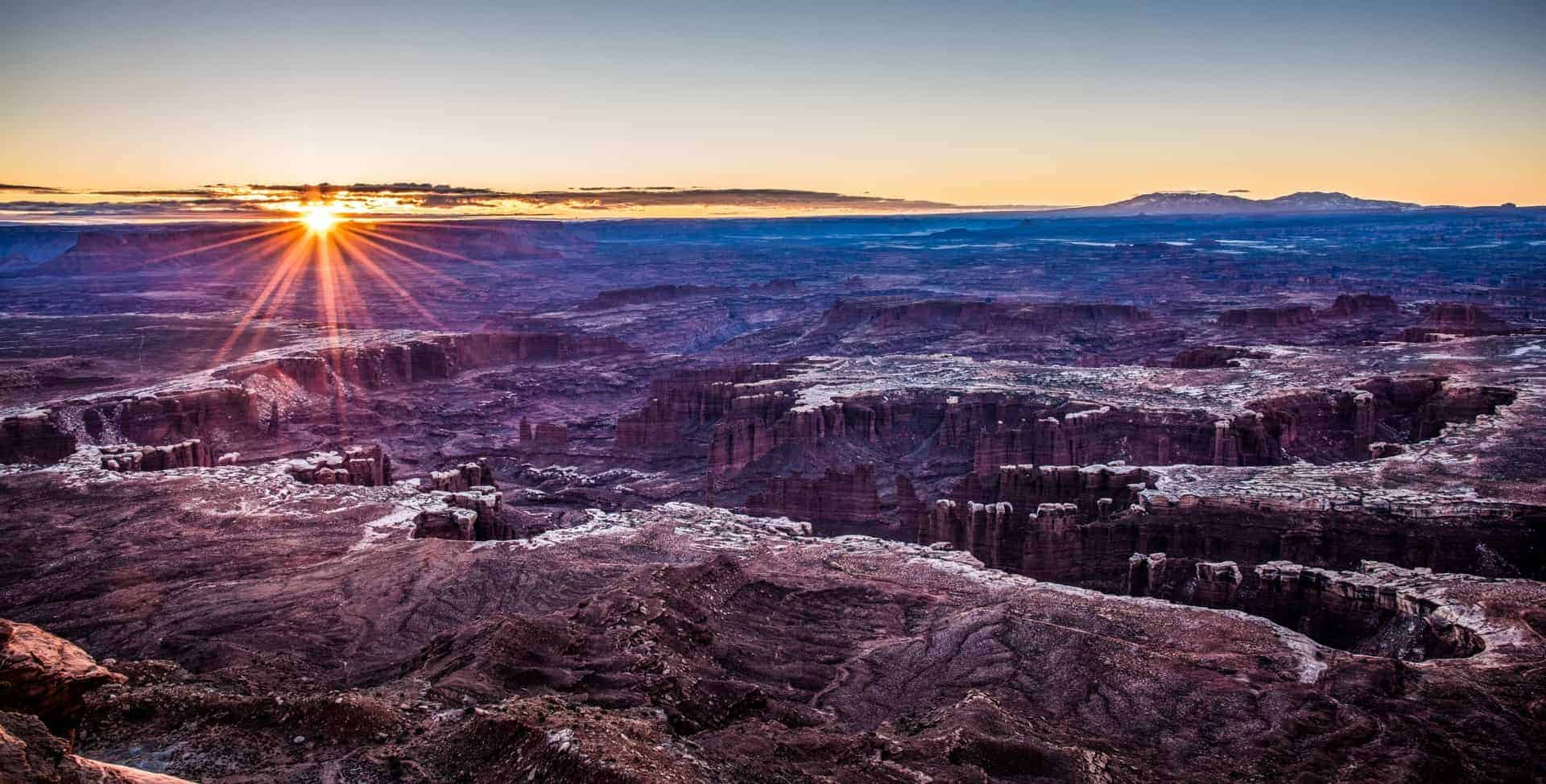 Sunrise Photography: Tips to Get Beautiful Sunrise Photos - Grand View Point at Canyonlands National Park, Utah